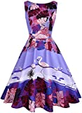 OWIN Women's 1950s Vintage Floral Swing Party Cocktail Dress with Butterfly Pattern (S, Purple+Bird)