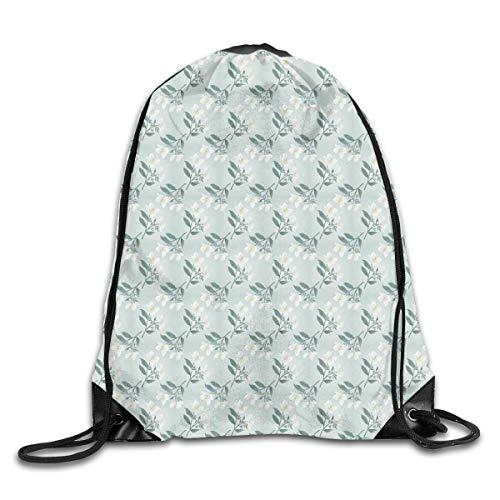 HLKPE Drawstring Backpacks Bags Daypacks,Spring Nature Revival Blossoming Delicate Jasmine Petals Image,5 Liter Capacity Adjustable for Sport Gym Traveling