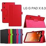 Meimeiwu LG G Pad X8.3 VK815 Funda - Ultra Slim Ligera PU Cuero Con Soporte Tablet Funda Caso Case para LG G Pad X8.3 VK815 - Rojo