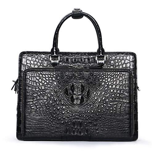 Shnnysany- Männer Aktentasche Tasche Umhängetaschen Echtes Leder Krokodilleder Hohe Kapazität Business-Tasche Britische Casual Handtasche Arbeit Travel Anwalt (Color : Black) -