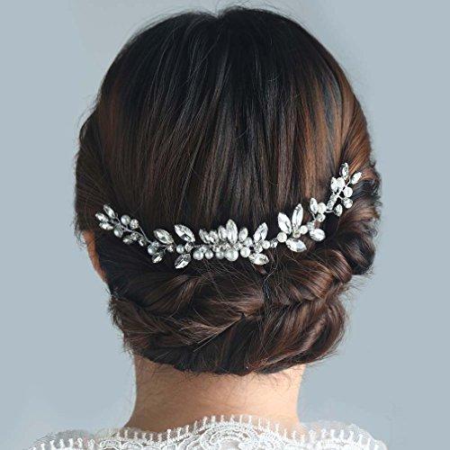 Handcess pettinino da matrimonio colore argento con strass pettinino da sposa accessori per capelli per sposa e damigelle