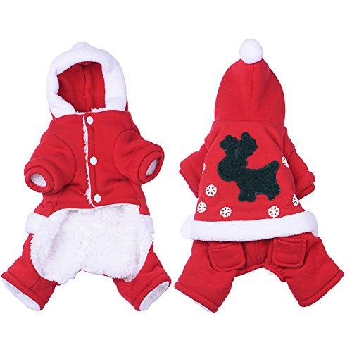 De Noel Pere Kostüm (yunt Vetement Mantel Kostüm Hat Kapuze von Pere Noel Design von vier Pfoten für Hunde im Winter)