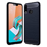Golden Sand Zenfone 5Z Cover Back Case Original Carbon Fibre Shockproof Armor TPU Back Cover Case for Asus Zenfone 5Z Mobile Phone, Midnight Blue