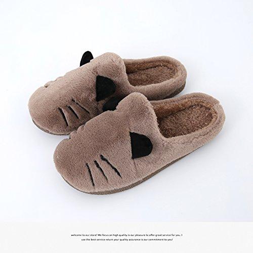 Fankou autunno e inverno pantofole di cotone giovane cat home indoor uomini sotto la fine di antiscivolo femmina calda Lila2318