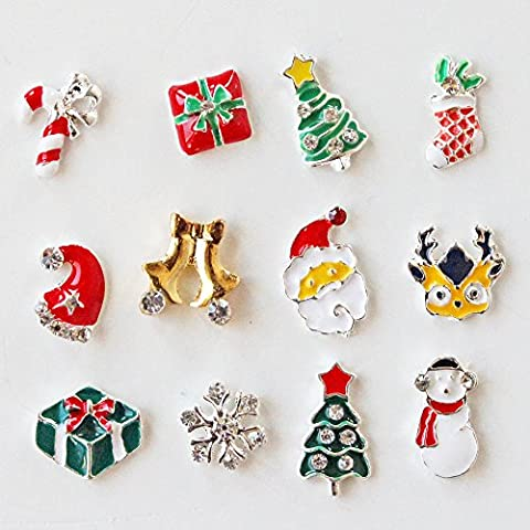 Winstonia Christmas Winter Holiday Assorted Pieces 3D Charms Nail Art Decoration Bling Rhinestone Bead Decor - Santa, Reindeer, Snowflake, Gift, Christmas Tree, Candy Cane etc by