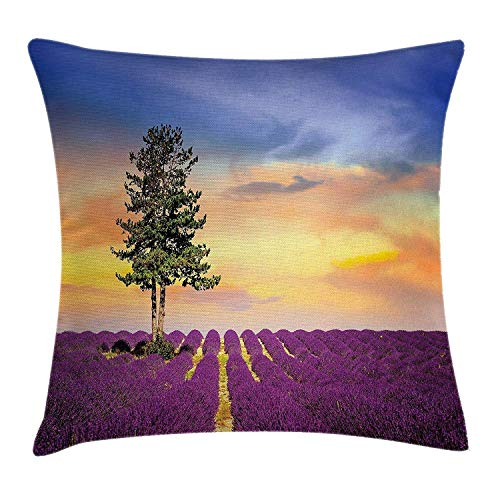 Lavender Throw Pillow Cushion Cover, Purple Fields with Sunset Sky and Large Green Tree French Village Country Decor, Decorative Square Accent Pillow Case, 18 X 18 Inches, Multicolor