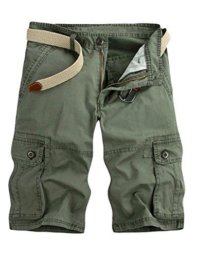 Canvas-loose-fit-jeans (Menschwear Herren Vintage Cargo Shorts Bermuda Kurze Hose Sommer Kurze Hose (38, Grün))