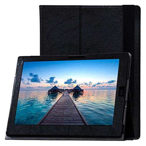 AIBULO PU Kunstleder Schutzhülle für Lenovo ThinkPad X1 Cover Case drehbar Etui Schutz Hülle Ständer Displayschutz Tasche (schwarz)