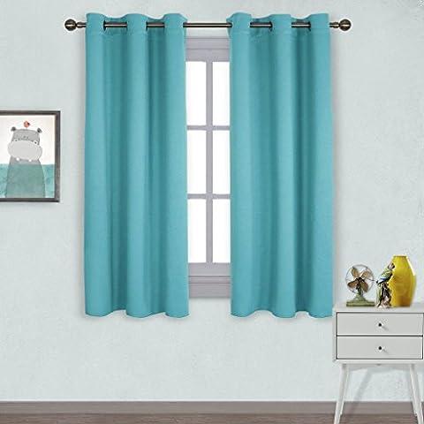Rideaux Isolants Thermiques à Oeillets - PONYDANCE Rideaux de Fenêtre Uni Obscurcissent la Chambre pour bien Sommeil, 106 cm × 158 cm ( L x H )/ Turquoise, Draperie Occultants Pour Nuitard