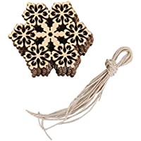 10pcs Copo De Nieve Hexagonal Redonda De Madera Navidad Adorno Decoracion Del arbol W. Cuerda