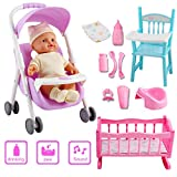 deAO My First Baby Doll Nursery Playset Toy Cot Crib Stroller High Chair
