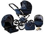 Lux4Kids Margaret Nostalgie Kombikinderwagen (Regenschutz, Moskitonetz, Autositz Adapter) 02 Blau Mohnblumen