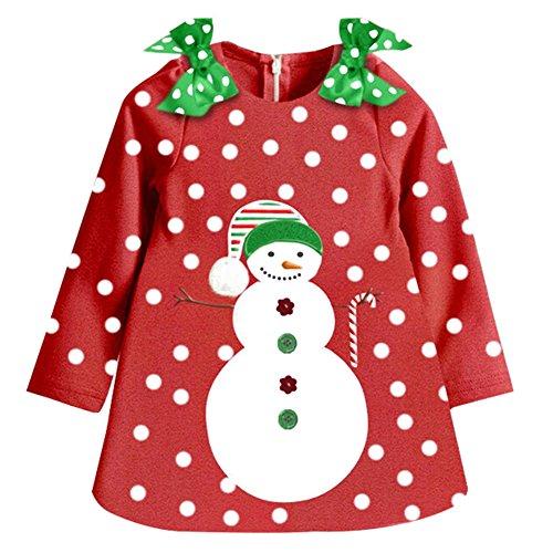 Mädchen Baumwolle Langarm Kleid - Baby Kleidung Punkt Schneemann Zwei Bowknots auf der Schulter Herbst 3 Jahre (Schneemann Kinder Kleid)