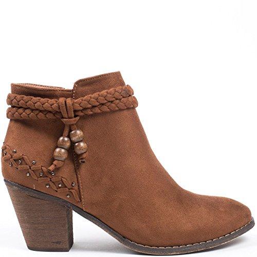 Ideal Shoes–Scarponcini con tacco spessa effetto camoscio con cinturone intrecciato Tallula Marrone