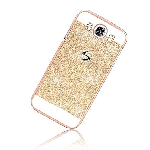 Sunroyal Samsung Galaxy J3 (2016) DUOS Smartphone (5,0 Zoll (12,63 cm) Handy Hülle Schutz Bling Hart Case Harte Glitzer Diamant Luxus Gel Crystal Kristall Zurück Hard Back Cover Rückseite, Gold