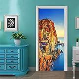 Wandaufkleber hause 3D landschaft kreativetüraufkleber schlafzimmertür renovierung persönlichkeit dekorativewandaufkleber 38,5 * 200 cm * 2