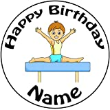 "Personalizable decoración para tarta para gimnasia Boy–un precortado redondo 8""(20cm) glaseado decoración"