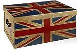 Aufbewahrungsbox Box Ordnungsbox Pappe Karton Deko-Box mit Deckel und Hand-Griff Stapelbox Dekokarton 49x39x24 cm UK United Kingdom Union Jack