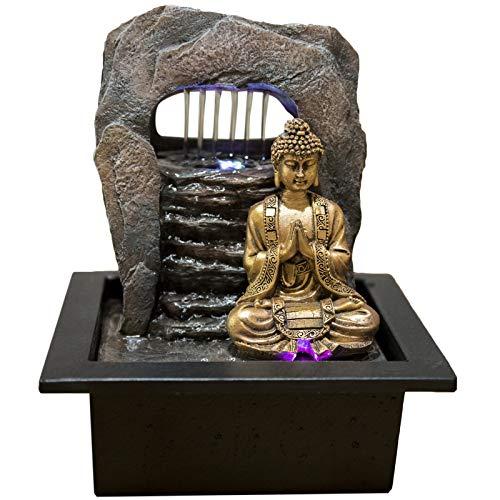 Zen\' Light Buda Zen Dao Fuente, Resina, Bronce, 21x 17x 25cm