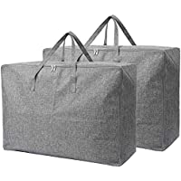 Fltaheroo 105L Extra Large Storage Bags Organizer Bag-2 Pack-Sturdy, Moisture Proof Linen Fabric, Carrying Bag, Clothes…