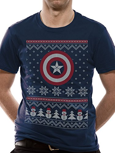 CID Herren T-Shirt Captain America Civil War-Captain America Fair Isle blau  (