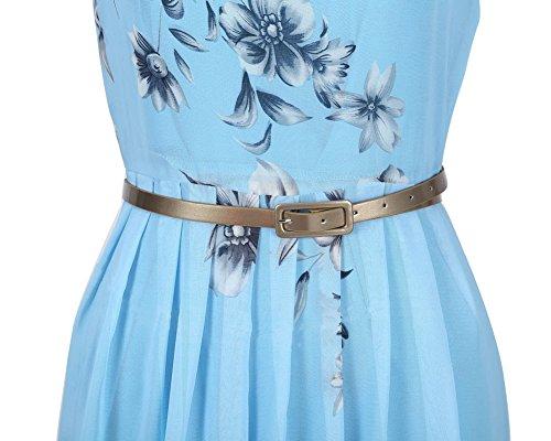 Femme Robe Maxi Longue Sans Manche Floral Imprimé Avec Ceinture Plage de Sable Robes Bleu