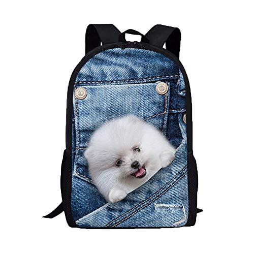 KHDJH Rucksack Mini-Rucksack Frauen Mini Rucksäcke Business Bagpack Mode Print Katze Und Hund Rucksack Denim Tasche E c