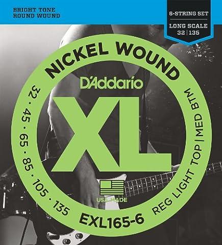 D'Addario Cordes en nickel pour basse 6 cordes D'Addario EXL165-6, Custom Light, 32-135, cordes longues