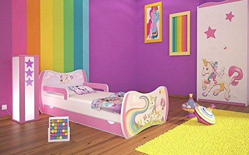 naka24 DM Kinderbett Einhorn mit Matratze und Bettkasten/Verschiedene Variante (180x90 cm, Rosa)