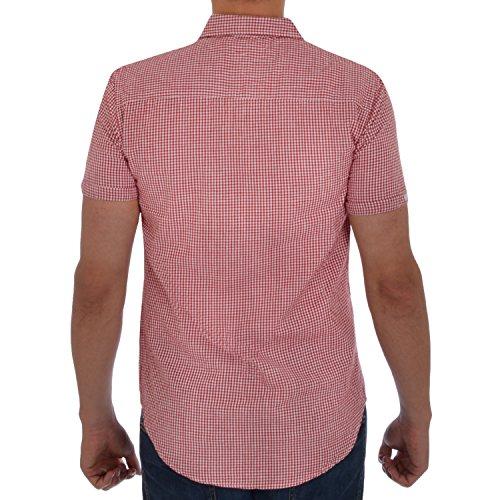 SoulStar Herren Button-down Freizeit-Hemd, Kariert Rot