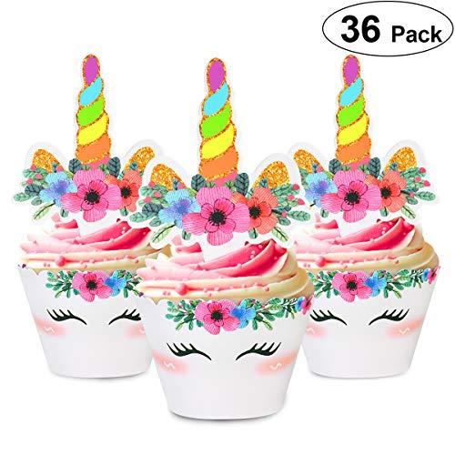 Unomor 36 Stücke Einhorn Cupcake Toppers für Einhorn Geburtstag Dekoration