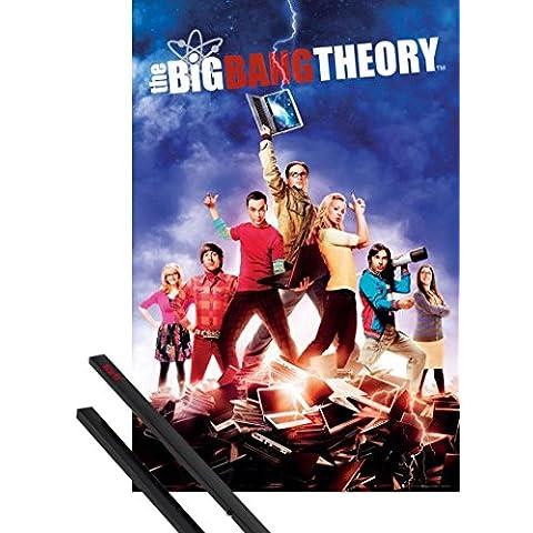 Póster + Soporte: The Big Bang Theory Póster (91x61 cm) Temporada 5, Libreta Relámpago Y 1 Lote De 2 Varillas Negras 1art1®