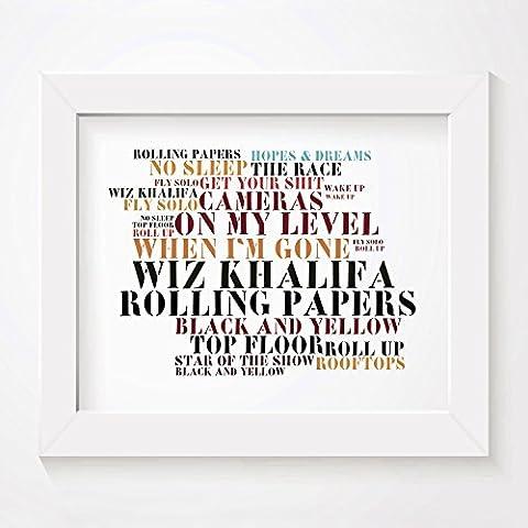 'Stoned Love` Poster Affiche d'art - Wiz Khalifa - Rolling Papers - Edition signée et numérotée limitée typographie non encadré 20 x 25 cm la musique album mur art haute qualité d'impression - Song lyrics music poster