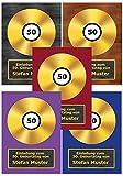 50 x Goldene Schallplatte als Einladungskarten zum Geburtstag Einladung CD Schallplatten - 50 Stück