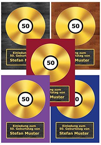Goldene Schallplatte als Einladungskarten zum Geburtstag Einladung CD Schallplatten - 60 Stück