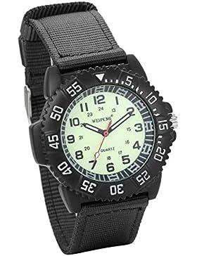JewelryWe Herren Armbanduhr Army Mode Sport Stil Militär- Armee Pilot Canvas Stoff Band Quarz Analog Uhr Schwarz