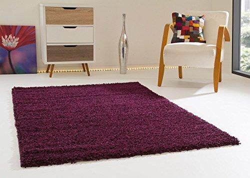 Shaggy Hochflor Teppich Happy Langflor Teppich in Aubergine mit Öko-Tex Siegel, Größe: 80x150 cm Teppich Aubergine