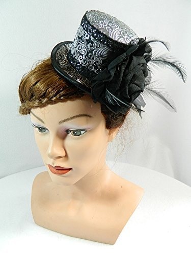 Mini Zylinder silber schwarz Fascinator Damenhut Gothic Steampunk Burlesque Brauthut Kopfschmuck (Paisley-korsett)