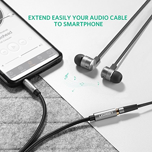UGREEN 3.5mm Male to Female Extension Stereo Audio Extension Cable Adapter Gold Plated Compatible for iPhone, iPad or Smartphones, Tablets, Media Players. (15ft, Black) - 5