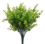 Uccello Fiy Cespugli finti di foglie di eucalipto verde simulazione piante da casa o fuori casa giardino ufficio veranda matrimonio decorazione -4 pezzi (JQC)