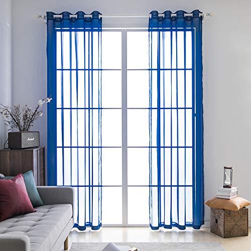 Miulee 2 pannelli tende voile leggeri trasaprenti decorative con occhielli per soggiorno e camera da letto 140x260cm blu