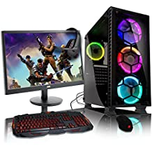 ADMI GAMING PC PACKAGE: Ordenador de sobremesa de gran alcance, monitor de 21.5 pulgadas 1080p, teclado y ratón (PC SPEC: AMD A6-6400K 4.1GHz procesador de doble núcleo con gráficos Radeon HD 8470D, USB 3.0, 500W PSU, 1 TB de disco duro, 8 GB de RAM, 24 x DVDRW Drive, Wi-Fi, CIT G Force negro / rojo caso de juego, pre-instalado con sistema operativo Windows 10)