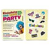 Einladungen (30 Stück) zum Geburtstag Bad Taste Kostüm Party Fasching Einladungskarten