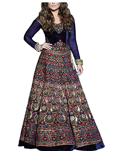 Royal Export women's Bangalori silk digital printed Semi-stitched lehenga choli (Blue)