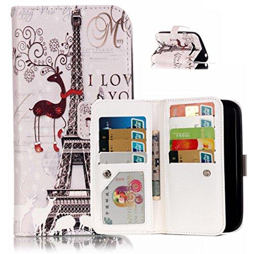 BoxTii® - Custodia in pelle PU a portafoglio con cover in silicone per Apple iPhone 6/iPhone 6s, con supporto, con 6 porta tessere, funzione chiusura magnetica staccabile, Ecopelle, #7 Love, Samsung G #4 Tower