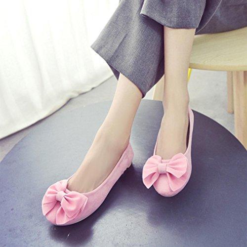 Transer ® Chaussures de loisirs plat Bowknot mode pour femmes Pregnent travail étudiant Rose