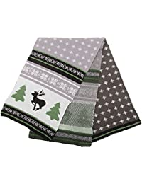 FLOSO® Mens Knitted Christmas Fairisle Pattern Winter Scarf