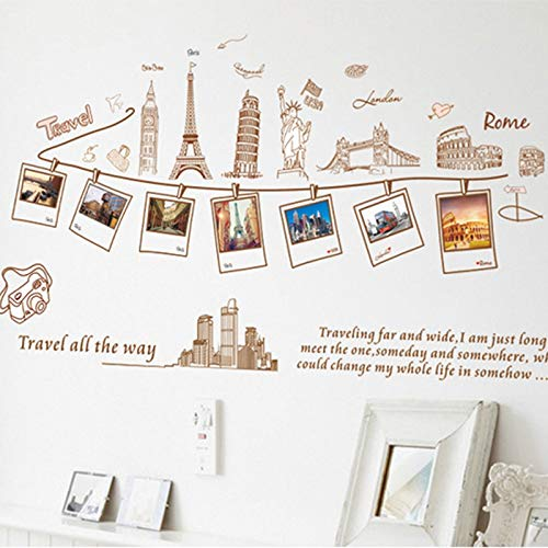 XCGZ Stickers muraux Famille Photo Cadre World Trip Wall Sticker Décor À La Maison pour Salon Chambre Décoration Stickers Affiche DIY Autocollants