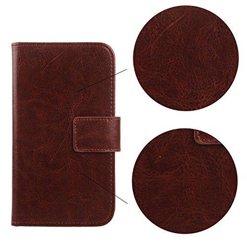 """Gukas Housse Coque Pour Apple iPhone 6 Plus / 6S Plus 5.5"""" PU Leather Cuir Etui Case Cover Flip Protection Portefeuille Wallet Rose Brun"""