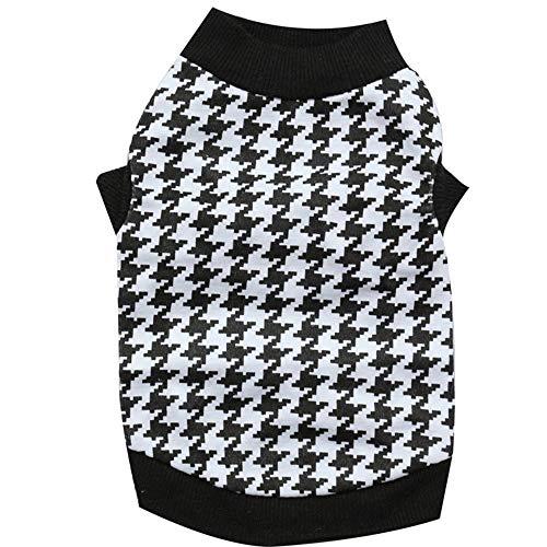 Baumwolle Hahnentritt-kleid Shirt (LNLW Sweatshirt-Haustier-T-Shirt bequemer Hund kleidet Baumwolle gedruckte Hahnentritt-Haustier-Weste-Haustier-Kleidung (Farbe : Schwarz, Size : S))